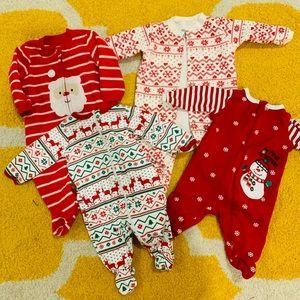 Carter's Christmas Baby Girl Boy Sleepers 0-3